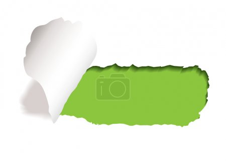 Photo for Green background with paper tear and curl of torn edge - Royalty Free Image