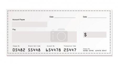 Illustration pour Illustration simple d'un chèque blanc en dollars avec espace pour votre propre texte - image libre de droit