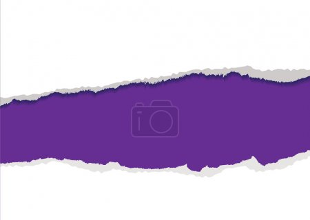 Illustration for Purple background with torn strip and feathered edges copyspace - Royalty Free Image