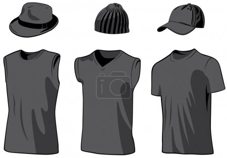 Shirts and caps. Vector illustration