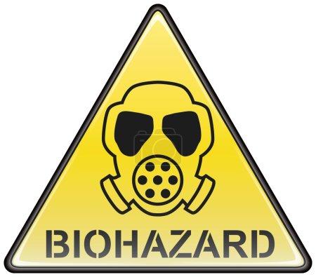 Biohazard gas mask vector triangle hazardous sign