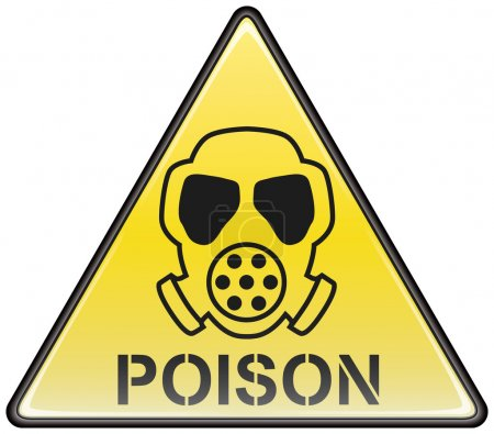 Illustration for Poison gas mask vector triangle hazardous sign - Royalty Free Image
