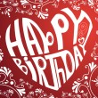 Happy birthday heart on lace background...