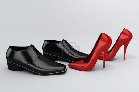 Photo for Men's black shoes and women's red shoes on grey background - Royalty Free Image