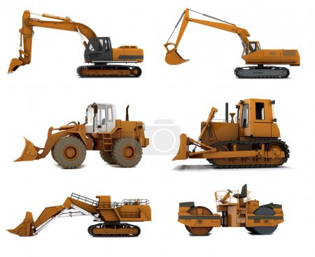 Photo for Group Road machinery isolated on white background - Royalty Free Image