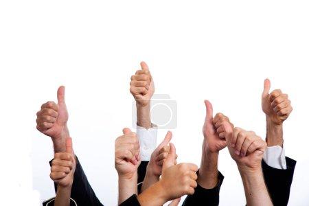 Foto de Negocio con los pulgares para arriba sobre fondo blanco - Imagen libre de derechos
