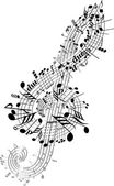 Music notes twisted into Clef