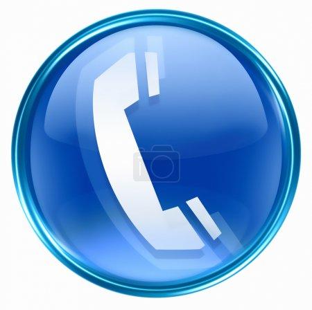 Photo pour Icône du téléphone bleu, isolé sur fond blanc - image libre de droit