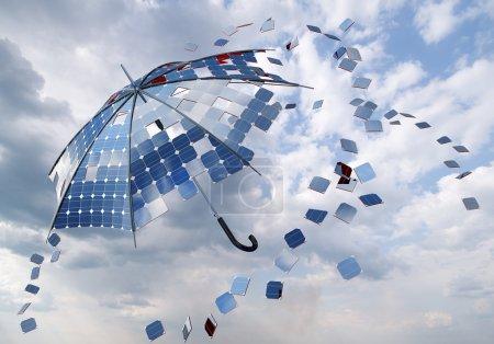 Open solar photovoltaic umbrella stick concept...