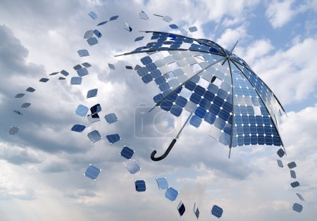 Foto de Concepto de palo abierto paraguas solar fotovoltaica - Imagen libre de derechos