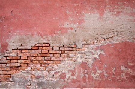 Old brick wall and stucco