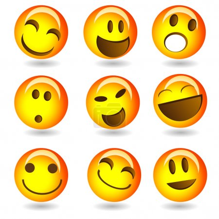 Illustration for Set of smileys - Royalty Free Image