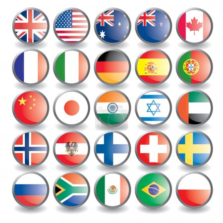 Photo for Web buttons with flags isolated on white. Name of the country as the name of the layer. Easy to change.. Vector illustration eps 10. - Royalty Free Image