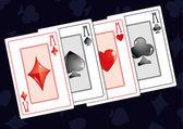 Quads aces on dark background vector illustration
