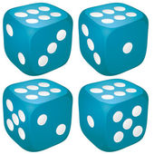 Set of blue casino craps dices with six points dots number on top vector illustration
