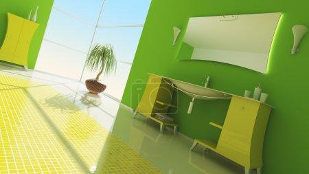 Photo pour Intérieur moderne d'une salle de bains (rendu 3d) - image libre de droit