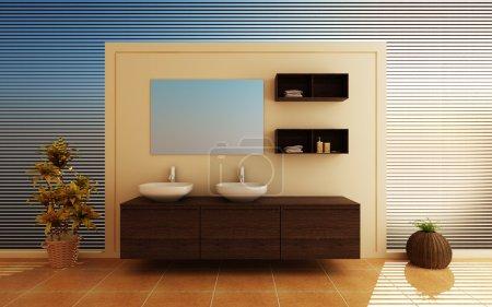 Photo pour Intérieur moderne d'une salle de bain (rendu 3d ) - image libre de droit