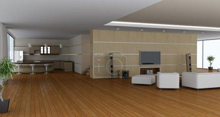 Photo pour Intérieur moderne d'un salon (rendu 3d ) - image libre de droit