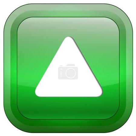 Photo pour Bouton brillant vert avec triangle blanc retroussé isolé sur fond blanc - image libre de droit
