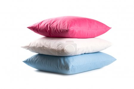 Photo for Pink, white and blue pillows isolated on white background - Royalty Free Image
