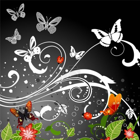 Illustration for Night blooming pattern - Royalty Free Image