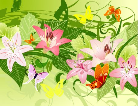 Summer pattern with lilies