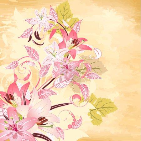 Illustration pour Fleurs sur fond de papyrus - image libre de droit