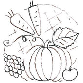 Pencil sketch of vegetables