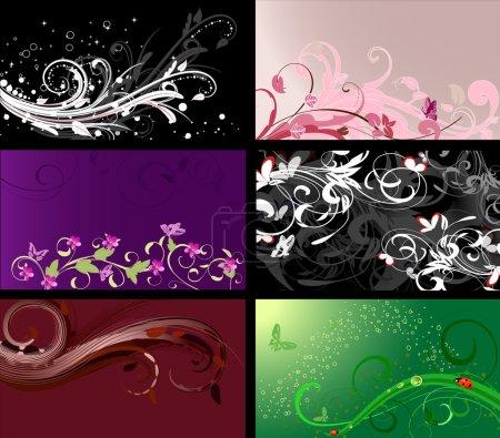 Illustration pour Ensemble de motifs floraux milieux - image libre de droit