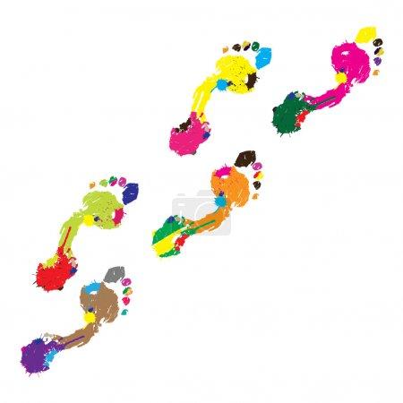 Photo pour Empreintes d'un pied humain sur fond blanc.Vecteur - image libre de droit