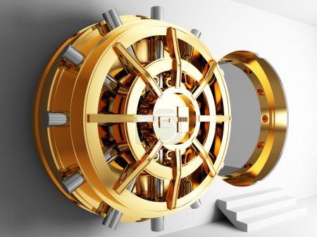Photo pour Banque chambre forte dorée porte 3d - image libre de droit
