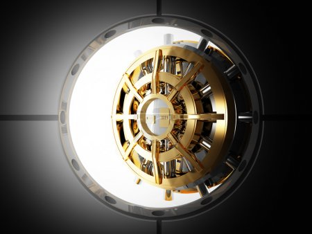 Photo for Bank vault door 3d view from safety room - Royalty Free Image