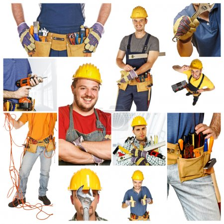 Photo for At work, collage picture of different manual workers - Royalty Free Image