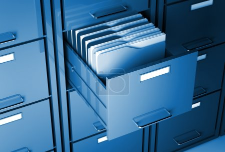 File cabinet 3d and folder closeup image...