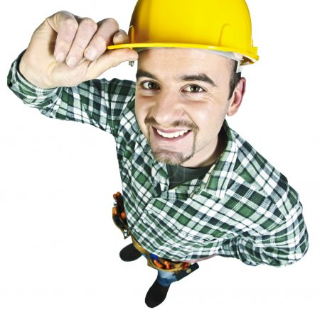 Photo for Happy funny young handyman isolated on white background - Royalty Free Image