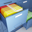 File cabinet detail and colorful folder...