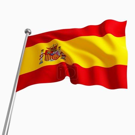 Photo pour Image 3D du drapeau espagne isolé sur blanc - image libre de droit