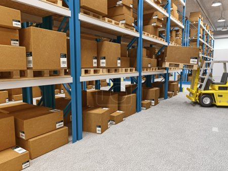 Photo for Fine 3d image of classic warehouse and forklift in action - Royalty Free Image