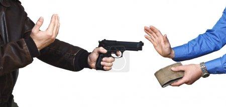 Photo pour Vol à main armée backgound, casual homme et homme d'affaires sur blanc - image libre de droit