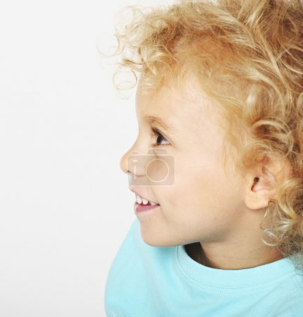 Photo for Blonde kid portrait on white background - Royalty Free Image
