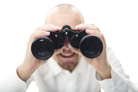 Photo for Smiling man with binocular selective focus image - Royalty Free Image