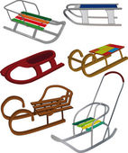 Set sledge bobsled cartoon holiday leisure winter