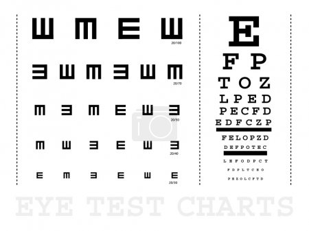 Illustration for Vector Snellen eye test charts for children and adults - Royalty Free Image
