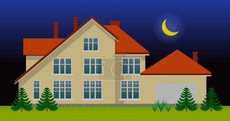 Illustration pour Nouvelle maison familiale dans la nuit. Voir la version jour dans mon portfolio - image libre de droit
