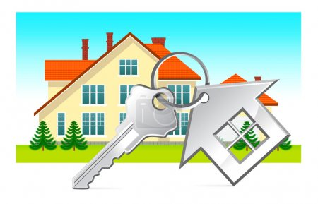 House and house keys on white background