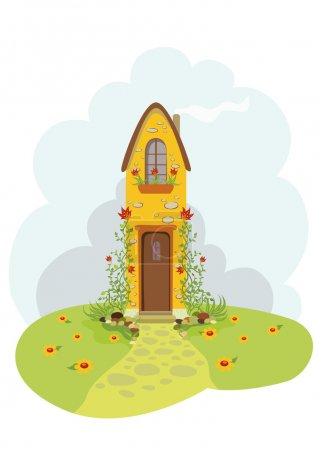 Illustration for Illustration of old cottage in country stile - Royalty Free Image