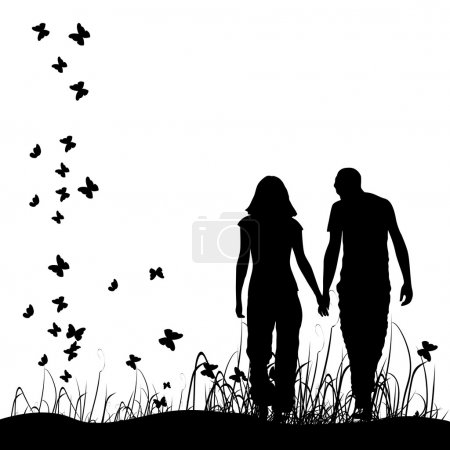 Illustration for Couple on meadow, black silhouette - Royalty Free Image