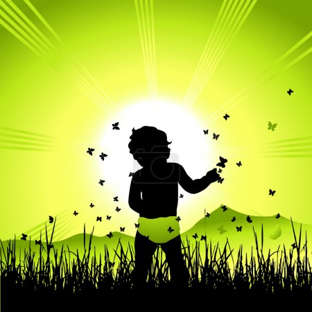 Illustration for Baby on nature, black silhouette - Royalty Free Image