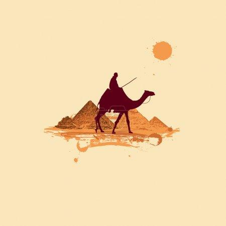 Illustration pour Pyramide dans le désert, voyager - image libre de droit