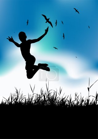 Illustration for Summer holiday, man is jumping on meadow, black silhouette - Royalty Free Image